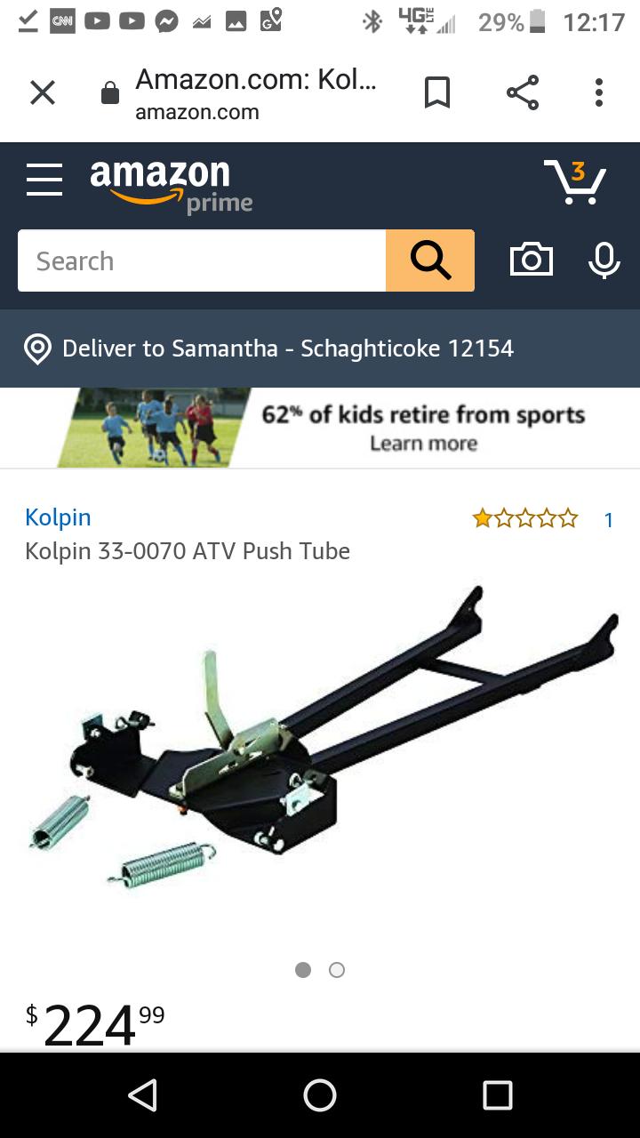 Kolpin 15-0090 Mount Fits 15-0070 and 34-0070 Push Tubes ATV Manual Lift Under Body