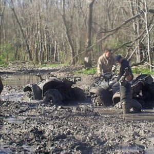 watching my buddy fall down in the mud
